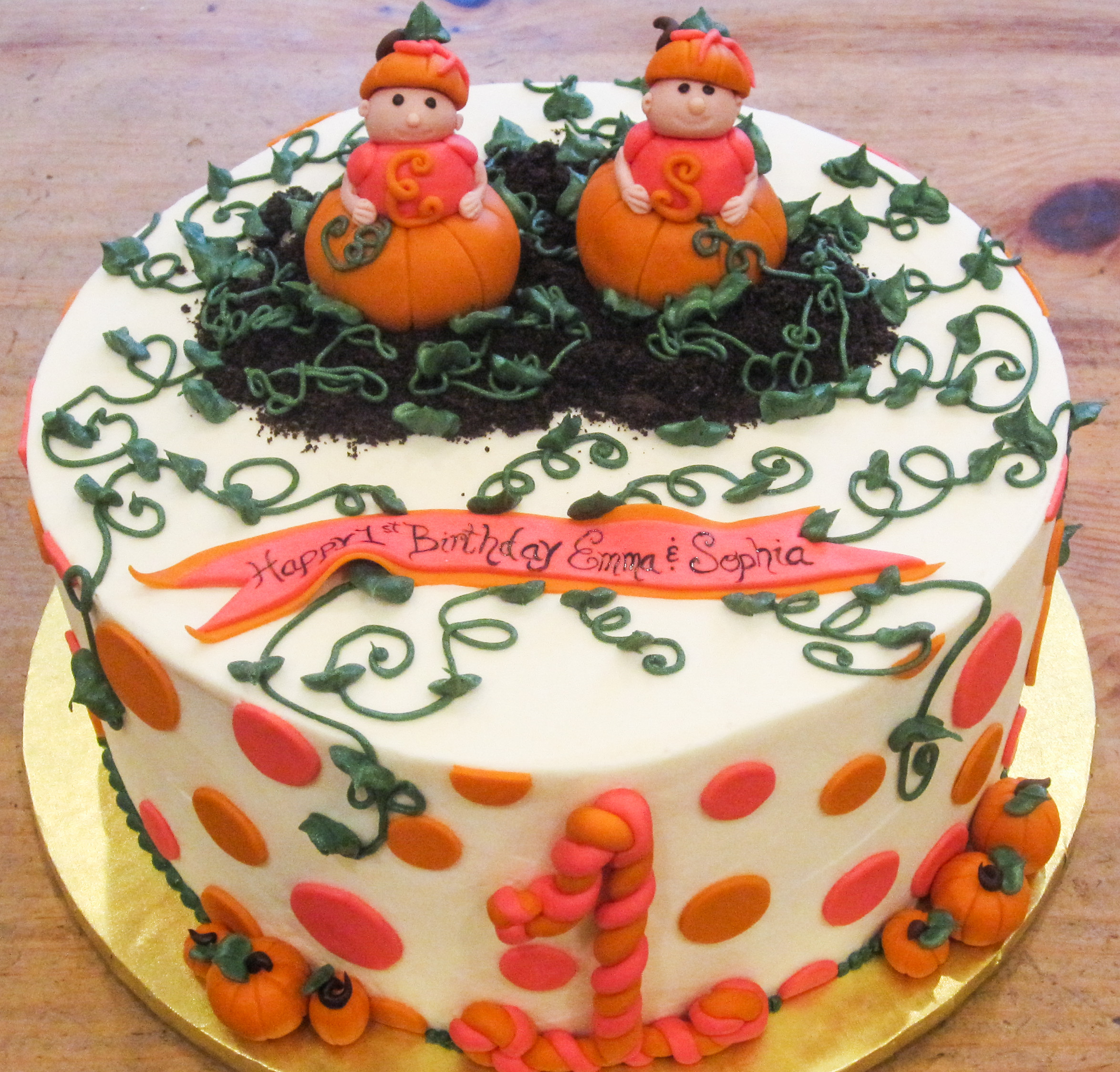 Pumpkin Twin Birthday Cake Rachels Sugar Shop