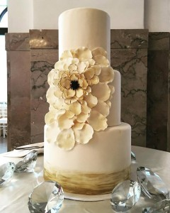Gold and Cream Bloom Wedding Cake