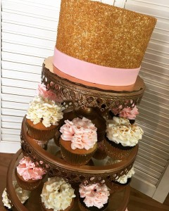 Blush, Gold, Champagne Cupcakes